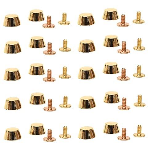 底鋲 ネジ式 20個セット アルミニウム合金 台形型 鋲 スタッズ [ 鞄 バッグ などの修理 ハンドメイド などにご活用下さいませ] レザークラフト 用品 【Aimoz】 (ゴールド)