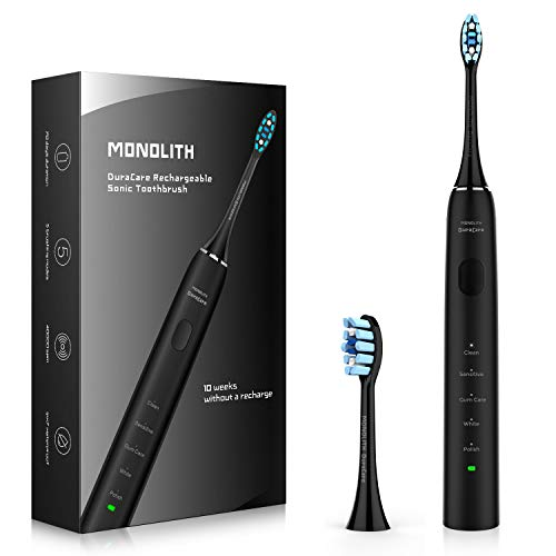 Strong & Quiet Rechargeable Toothbrush, DuraCare 40,000 VPM Ultra Sonic 5 Modes Deep Clean Electric Toothbrush with Memory Function, Holds a Charge for Minimum 10 Weeks Powered by Monolith