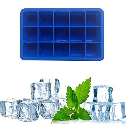 huichang - Bandeja de hielo de silicona para casa con 15 bandejas cuadradas para hielo