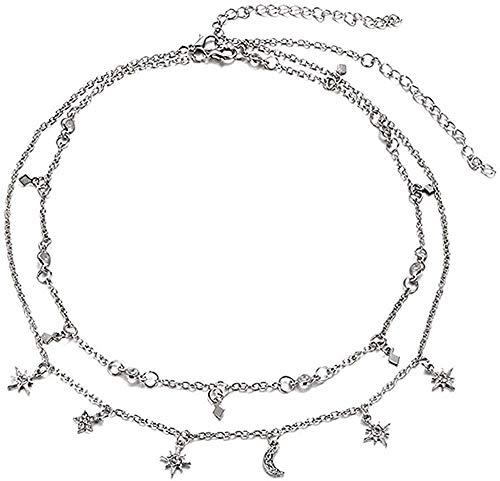 Yaoliangliang Collar de Mujer Boho Star Moon, Collar con Colgante de mltiples Capas para Collares de Flores Bohemias, Collar Vintage, joyera de Disfraz, Regalo