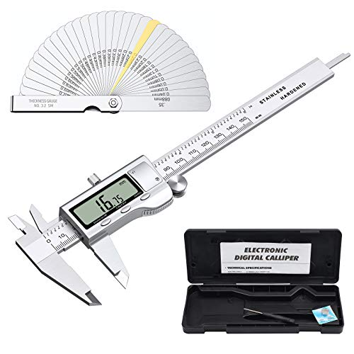 Proster Digital Vernier Caliper 6inch/150mm + 32 Feeler Gauges Dial Calipers Electronic Caliper Fractions/Inch/Metric Calipers Measuring Tool for Length Width Depth Inner/Outer Diameter