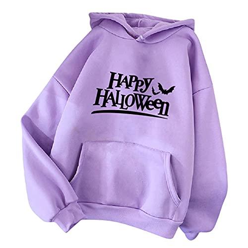 Wave166 Sudadera con capucha Happy Halloween con letras impresas, monocolor, con bolsillos, para carnaval, fiesta, informal, para otoño, azul, M