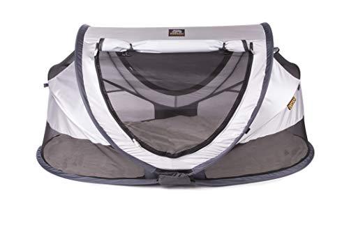 DERYAN Reisebett - Peuter Luxe - Silver - Pop-up - Einrichtung in nur 2 Sekunden - Inklusive Baumwollbezug mit Reißverschluss, selbstaufblasbarer Luftmatratze und Tragetasche