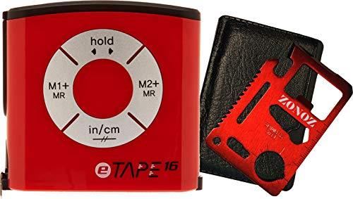 eTape16 ET16.75-DB-RP Digital Tape Measure, 16', Red, Inch and Metric & Zonoz 11 in 1 Multipurpose Mini Portable Wallet Size Pocket Multi-Z-Tool (Bundle)
