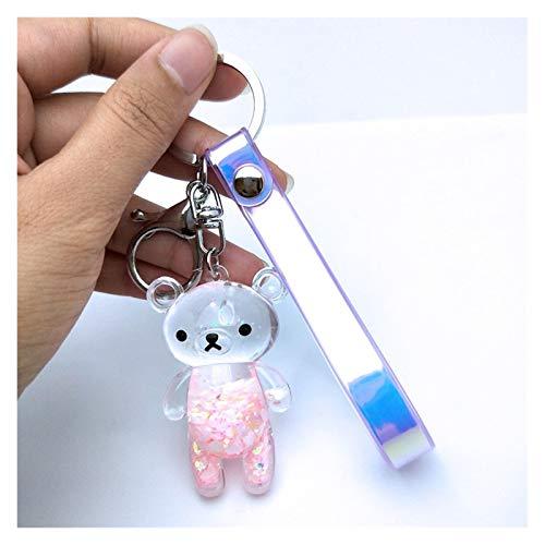 Llavero Parejas líquido llavero del brillo del oso de la arena movediza de llavero de acrílico Key Fob Mochila colgante hombres de las mujeres novio amigo llavero de regalo HOME ( Color : Pink bear )