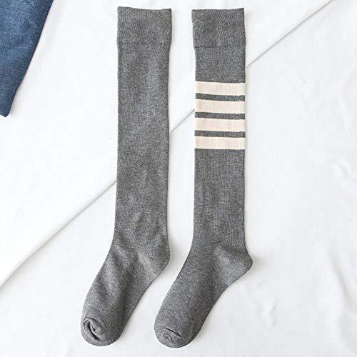 A.G.S. AGS Fashion Damen Lange Socken Wadenlang Kniestrümpfe College Style Solid Socken 4 Streifen Sportsocken Baumwollsocken, 309001, Einheitsgröße