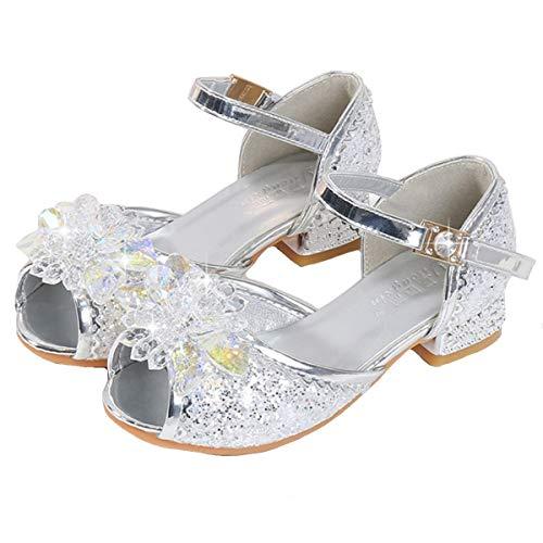 AIYIMEI Mädchen Prinzessin Schuhe Kinder Sandalen Partei Glitzer Kristall Schuhe Kostüm Zubehör Karneval Verkleidung Party Aufführung Fasching Tanzball,Silber,28 EU