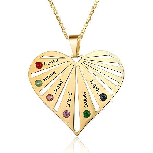 Collar oro corazon mujer plata ley 925 colgante corazon 6 nombres personalizados collar piedras natales colgante familia para el día de la madre