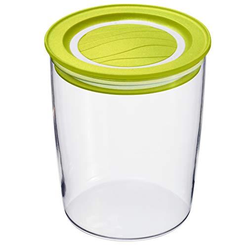 Rotho Cristallo runde Vorratsdose 0,7l mit Deckel und Dichtung, Kunststoff (SAN) BPA-frei, transparent/grün, 0,7l (11,0 x 11,0 x 11,8 cm)