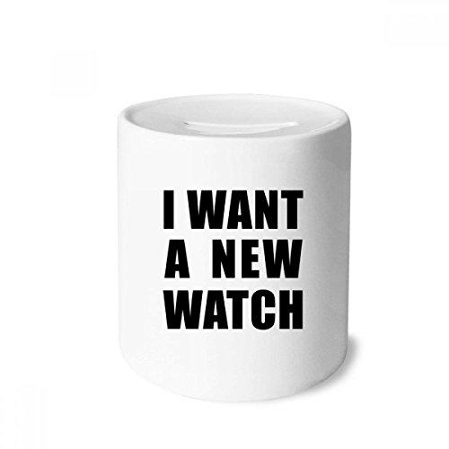DIYthinker Ich möchte eine Neue Uhr-Geld-Kasten Sparkassen Keramik Münzfach Kinder Erwachsene 3.5 Zoll in Height, 3.1 Zoll in Duruchmesser Mehrfarbig