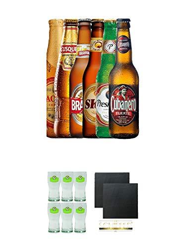 Biere aus Lateinamerika Mischpaket Brahma, Pacena, Skol, Presidente Liter, Cubanero, Cusquena je 0,33 Liter + Presidente Bier Glas 6 Stück + Schiefer Glasuntersetzer eckig ca. 9,5 cm Ø 2 Stück