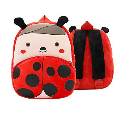 JUNGEN zaino animali bambini peluche zaino animali cartone animato zaino asilo bambini borse a tracolla (Coccinella)