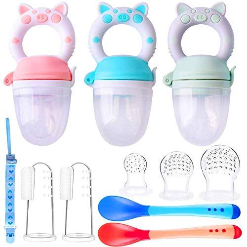 3pcs Chupete Fruta Bebes S/M/L + 2pcs Cepillos Dedo + 3 Chupetes Silicona de Repuesto + 2 Cucharas Alimentador Regalos para Bebés (3pcs Patrones de gato)