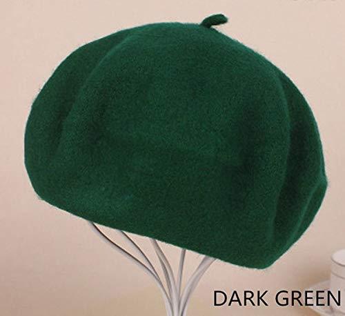 Boina para Mujer y niña, Gorro de Invierno cálido, Gorro Vintage, Boina Simple, Sombreros de Color sólido, Elegantes Gorras de Invierno-Dark Green