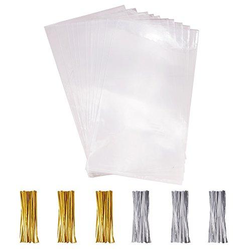 PandaHall Elite 100Pcs Transparenti Trattare Borse Cancella con 100 Pezzi Twist Ties per Biscotto Caramelle di Nozze Fornitura a Buffet Bustine per Panini Cioccolatini 30x16 cm (11,81x 6,29 Pollici)