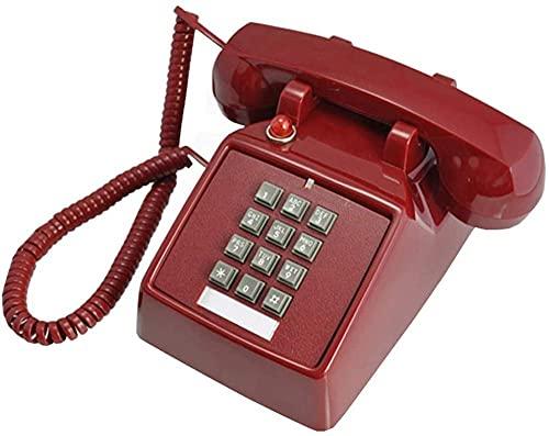 Teléfono Retro Vintage Retro Teléfono Vintage Botón Antiguo Máquina Teléfono Mecánico Americano Teléfono Fijo-Rojo Excellent