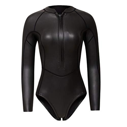 Perfeclan Damen Sport Badeanzug Bauchweg Schwimmanzug Langarm Sportanzug aus Neopren - Schwarz, XS