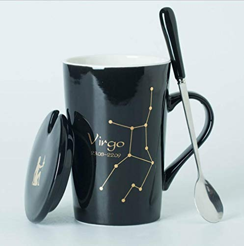 ATYBO Keramikbecher 12 Sternbilder Kreative Becher mit Löffeldeckel Schwarz und Gold Porzellan Sternzeichen Milch Kaffeetasse, 4
