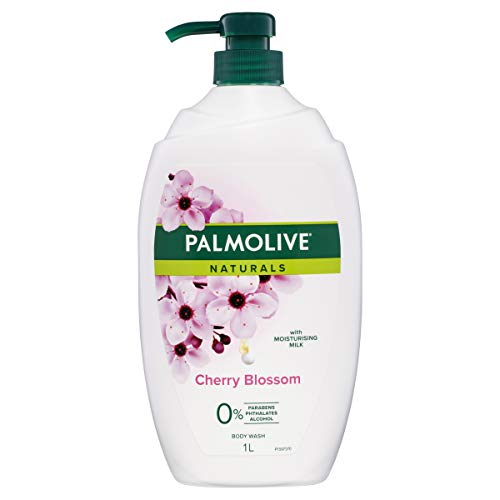 Palmolive Naturals Body Wash 1L, Milk and Cherry Blossom with Moisturizing Milk, Soap Free Shower Gel, No Parabens Phthalates or Alcohol, Recyclable Bottle