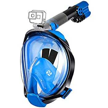 aidong Full Face Snorkel Mask,180 Panoramic Anti Fog Anti Leak Foldable Snorkel Mask,Advanced Breathing System Allows You to Breathe More Fresh Air While Snorkeling  Style B - Black/Blue Small