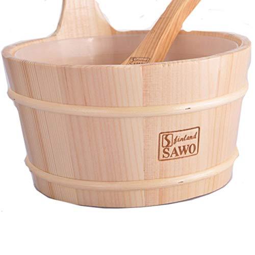 Salle de bain Seau de sauna naturel cuillère en bois avec doublure portable peau en bois perte de poids Sauna Tool Supplies - bois couleur
