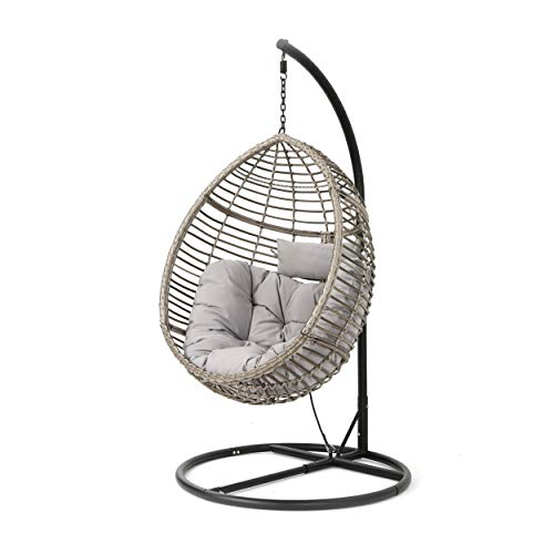 Christopher Knight Home Leasa Outdoor Wicker Hanging Basket Chair with Water Resistant Cushions and Iron Base, Grey / Black