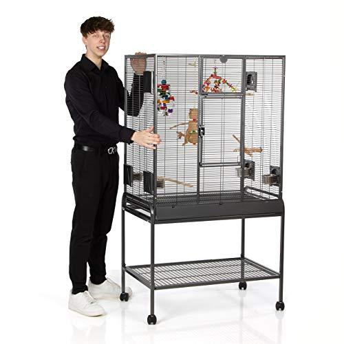 Montana Cages ® | Sittichkäfig, Käfig,Voliere, Vogelkäfig, Madeira Single - Antik mit Anflugklappe ca. 86 x 54 x 155 cm