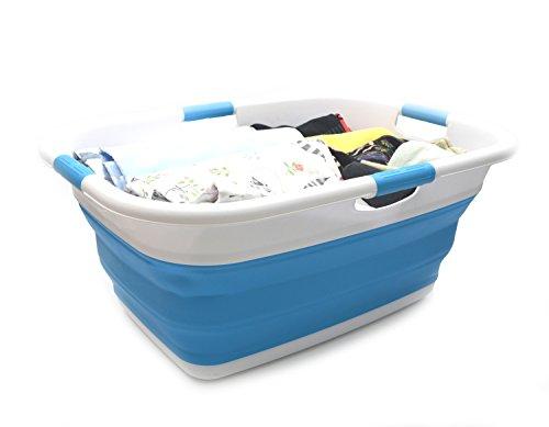 Sammart Cesto portabiancheria, rettangolare, pieghevole, portatile, salvaspazio, per auto, vasca da bagno e per animali domestici blu cielo