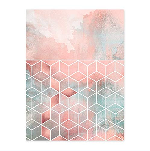 N / A Rosa Moderna geométrica Abstracta Lienzo impresión Pintura Cartel Pared Imagen para Sala de Estar decoración del hogar sin Marco 50x70 cm