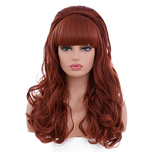 BESTUNG Copper Red Long Curly Wavy Women's Big Red Costume Wig 80's Classical Hair Wigs for Women (Copper)