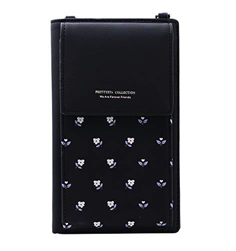 Handy Umhängetasche Schultertasche Brieftasche Handytasche für Damen Weiches PU-Kunstleder Smartphones bis 6 Zoll 8 Kreditkartenfächer (Schwarz)