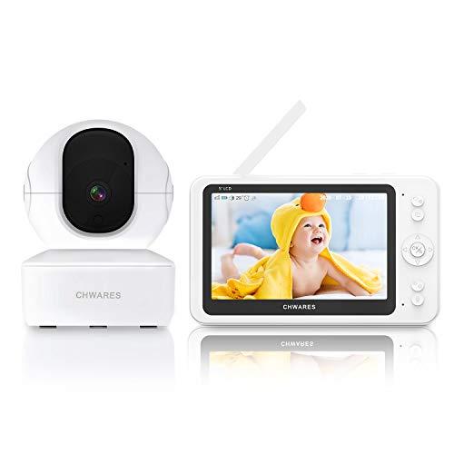 """Babyphone, 1080P 5\""""HD Display Video Babyphone mit Kamera und Audio, 3600mAh Akku, 300m Reichweite, VOX Modus und Zwei Wege Audio Dialog, Temperatursensor, TF Speicherung und Wiedergabe"""