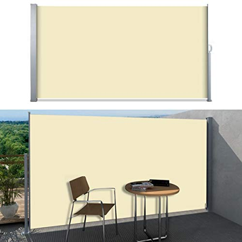 SVITA Seitenmarkise Kassetten-Rollo Sichtschutz Sonnenschutz Seitenrollo für Balkon Terrasse Garten 180x300 cm Beige