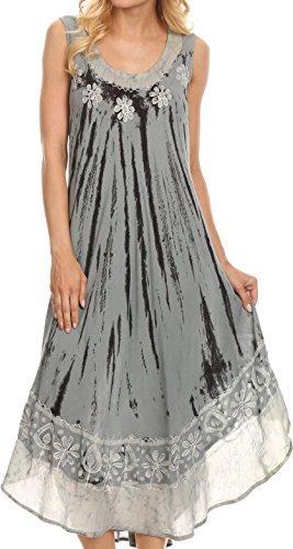 Sakkas 15009 - Alexis gesticktes langes Sleeveless BlumenKaftan Kleid/Abdeckung Oben - staubiges Blau - OS