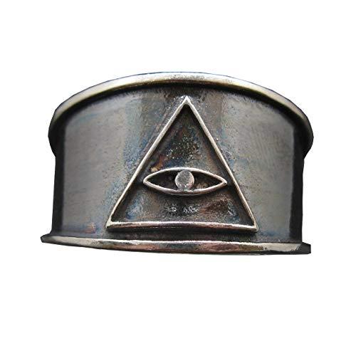 Banda de anillo de plata esterlina Ojo en Pirámide sólidas con distintivo 925 Iluminati
