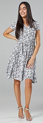 Happy Mama.para Mujer Vestido Premamá y de Lactancia Manga Corta Doble Capa.598p (Blanca con Flores Negras, 38, M)