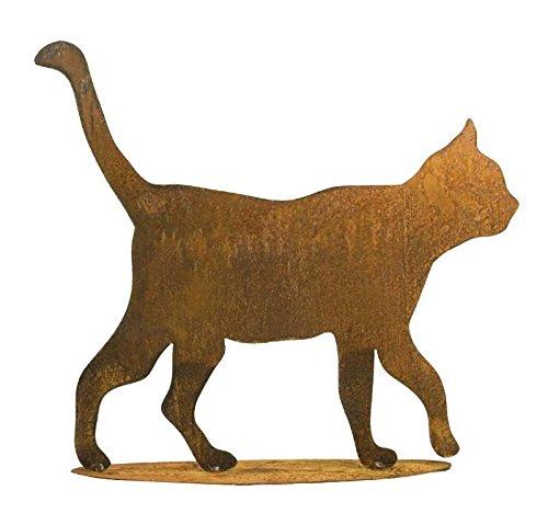 Rostige Gartendeko - Edelrost Tier: Große Katze auf Platte - Höhe 50cm - Rost Dekoration/Dekokatze/Katzendekoration