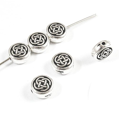 Silver Small Celtic Circle Knot Coin Beads TierraCast Pewter (6 Pieces)