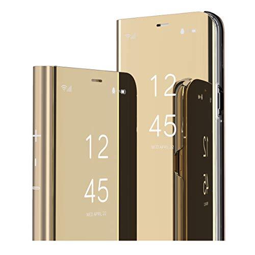 MRSTER Oppo Reno 4 Pro 5G Hülle Clear View Standing Cover, Spiegel Handyhülle Schutzhülle Flip Hülle Schutz Tasche mit Standfunktion 360 Grad hülle für Oppo Reno4 Pro 5G. Flip Mirror: Gold