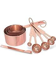 GeeRic Meetbekers en maatlepels Set, Set van 10 roestvrijstalen maatbekers en maatlepels met meetliniaal voor bakken, keuken koken, vloeibaar en solide