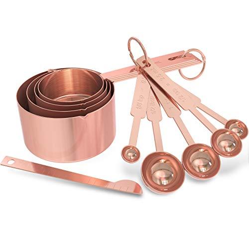 GeeRic Messlöffel und Messbecher Set mit Meßlineal,10er Set,für Trockene und Flüssige Zutaten,für Küche Kochen Backen