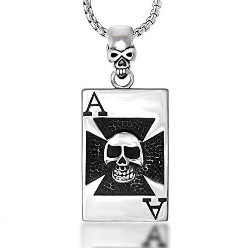 Collar Colgante Joyería Hombres Poker Spades A Collar Tarjeta Cuadrada Colgante De Acero De Titanio Colgante De Calavera Dominante-Silver_60Cm