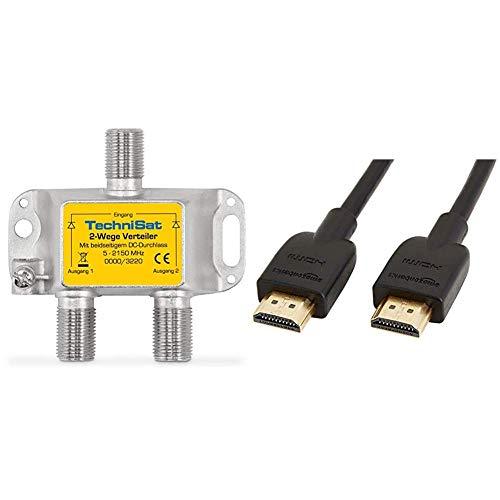 TechniSat 2-Wege Sat-Verteiler (diodenentkoppelter 2-Wege Verteiler) & AmazonBasics Hochgeschwindigkeits-HDMI-Kabel 2.0, Ethernet, 3D, 4K-Videowiedergabe und ARC, Ultra-HD, 0,91 m