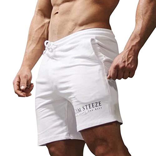 Anmurショートパンツ メンズ トレーニングパンツ 綿 通気性抜群 ハーフパンツ フィットネス ランニングショーツ スポーツウェア カジュアルパンツ ホワイトXL