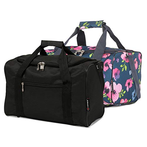 5 Cities 40x20x25 Ryanair Maximum Sized 2020 Under Seat Cabin Holdall Travel Flight Bag – Take The Max on Board! (Black + Navy Floral)