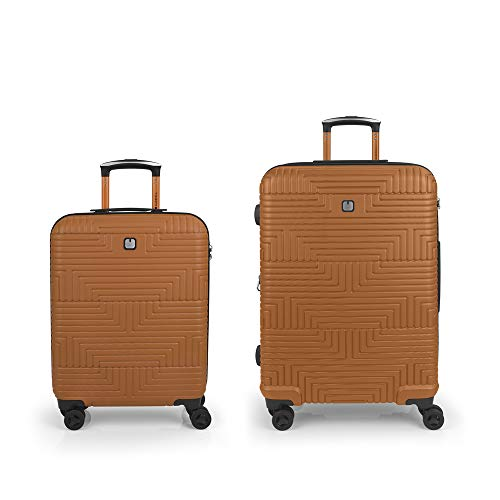Gabol - Shock | Rigid Orange Travel Suitcase Set with Cabin Trolley and Medium Trolley