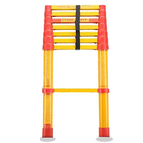 AA-SS-Ladder Escalera de extensión de Fibra de Vidrio Escaleras telescópicas Ligeras, Altas y no conductivas, Resistentes, para electricistas, 150 kg (tamaño: 2 m)