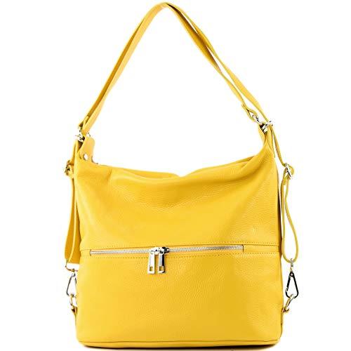modamoda de - T189 - ital. Damen Rucksack Tasche 2in1 aus Leder, Farbe:Sonnengelb
