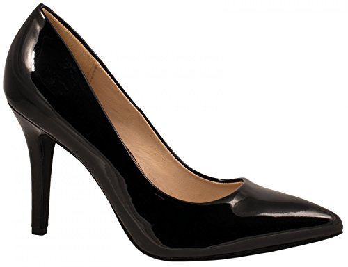 Elara Spitz Damen Pumps Stiletto High Heels chunkyrayan JA70-Schwarz-36