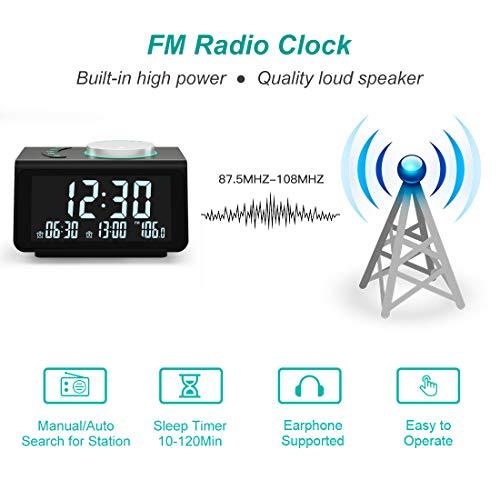 【2021 Newest】 ANJANK Small Digital Alarm Clock Radio - FM Radio,Dual USB Charging Ports,Dual Alarms with 7 Alarm Sounds,Adjustable Volume,Temperature,5 Level Brightness Dimmer,Battery Backup,Bedrooms